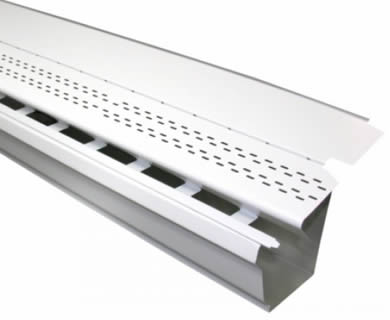 A white gutter guard made of aluminum lays inclined on the white background.
