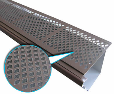 A piece of brown diamond gutter screen with fine mesh lay inclined on the white background.
