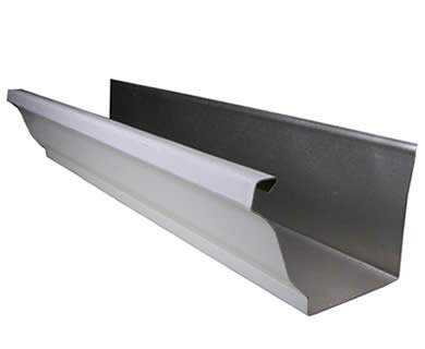 A K style aluminum gutter on the white background.