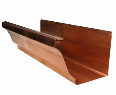 A K style copper gutter on the white background.