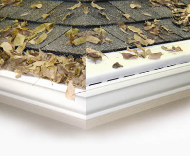 The gutter on the left without gutter guard is full of leaves and the gutter on the right with gutter guard is very clean.