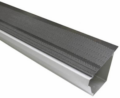 Steel shingle gutter guard on the white background.